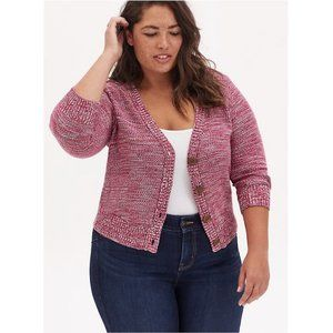 Torrid Red Space-Dye Button Front Crop Cardigan